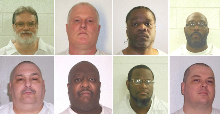 Arkansas death row inmates Bruce Ward(top row L to R), Don Davis, Ledell Lee, Stacy Johnson, Jack Jones (bottom row L to R), Marcel Williams, Kenneth Williams and Jason Mcgehee. The eight are scheduled to be executed by lethal injection beginning April 17.